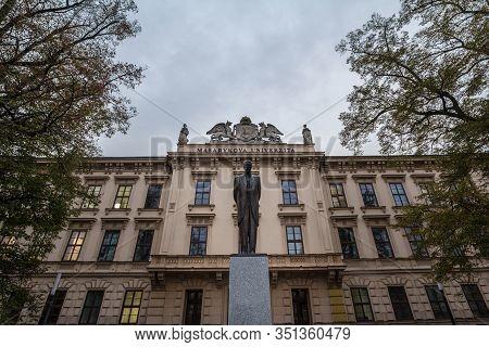 Brno, Czechia - November 6, 2019: Main Building Of Masarykova Univerzita, Or Masaryk University In B