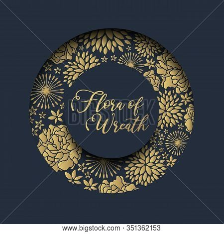 Circle Groove Frame With Luxury Abstract Gold Flora Texture On Dark Blue Background Vector Design