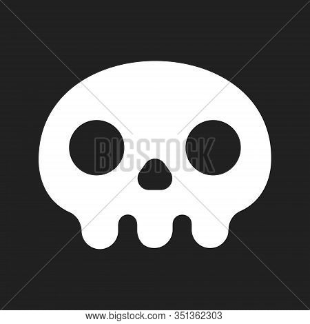 Simple Flat Style Design Skull Icon Sign Vector Illustration Isolated On Black Background. Human Par