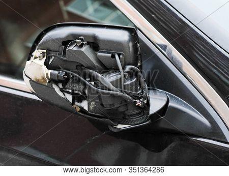 Car Accident Broken Car Rearview Mirror, Winter