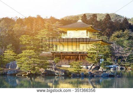 The Heritage Landmark, Kinkaku-ji, The Golden Pavilion, Buddhist Temple In Kyoto, Japan
