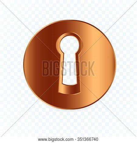 Isolated Round Keyhole On White Transparent Background, Flat Bronze Lock Element, Circle Realistic K