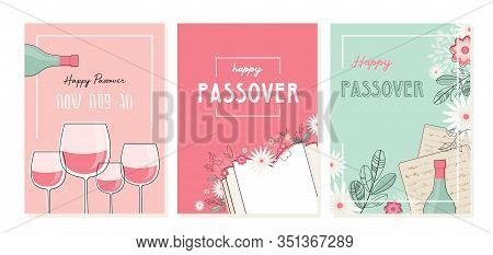 Passover Greeting Car Set. Seder Pesach Invitation, Greeting Card Template Or Holiday Flyer. Happy P