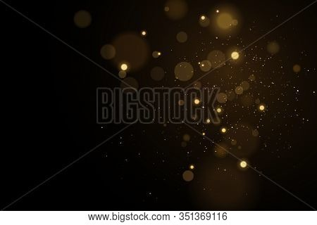 Lights Bokeh On A Black Background. Glares With Flying Glowing Particles. Ligh Gold Effect. Vector I