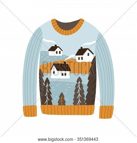 Cozy Handmade Christmas Sweater Vector Flat Illustration. Colorful Festive Jumper With Winter Villag