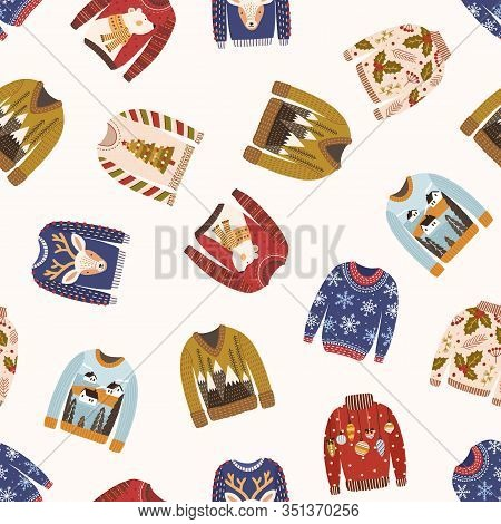 Different Woolen Ugly Christmas Sweater Seamless Pattern Isolated On White Background. Various Winte