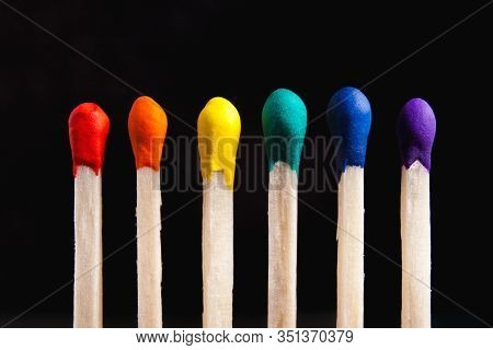 Lgbt, Protection Of Human Rights Concept. Multicolored Matches In The Colors Of The Flag Of Sexual M