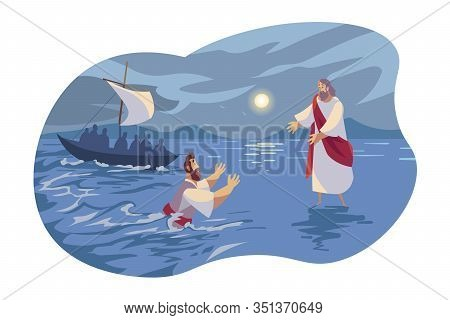 Jesus Walks On Water, Bible Concept. Apostle Peter Falling Under Water Because Of Doubts. Picture Of