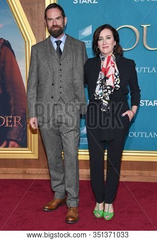 LOS ANGELES - FEB 13:  Duncan Lacroix and Maria Doyle Kennedy arrives for the 'Outlander' Season 5 Premiere on February 13, 2020 in Hollywood, CA