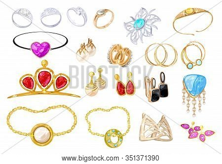 Big Vector Realistic Set With Assortment Of Jewelry, Bijouterie, Fashion Shops, Wedding Salons. Gold