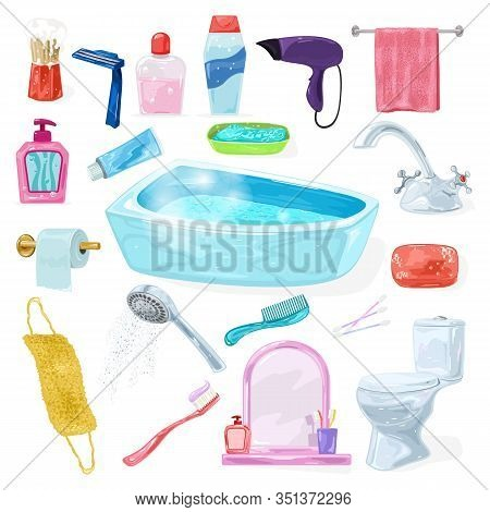 Big Set With Bathroom Interior Fixtures, Accessories, Washroom Equipments, Sanitary Fittings, Toilet