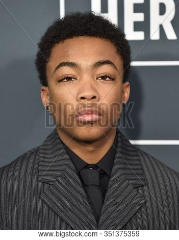 LOS ANGELES - JAN 12:  Asante Blackk arrives for the 25th Annual Critics' Choice Awards on January 12, 2020 in Santa Monica, CA