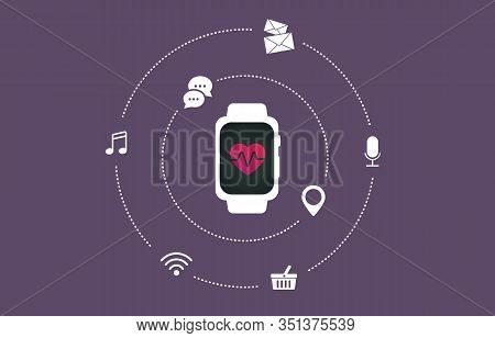 Smartwatch With Heart Rate On The Screen, Flat Vector Illustration. Wearable Smart Watch Iot Device