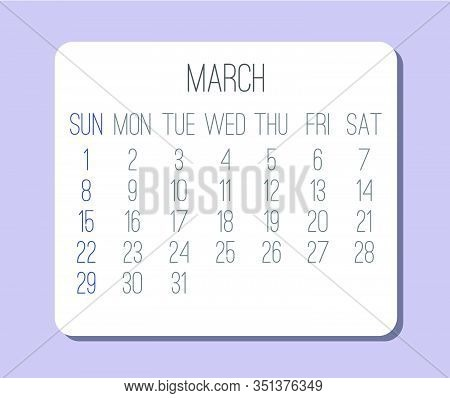 March Year 2020 Vector Monthly Plain Minimalist Calendar. Week Starting From Sunday.