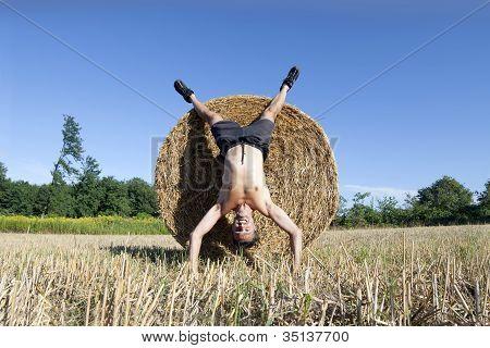 Handstand Hay Bale