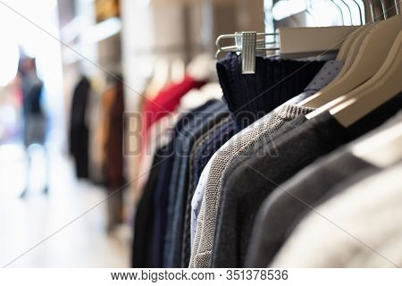 Clothes In Shopping Store. Fashion Sale. Shopping, Buying Clothes. Clothes In Sale. Shopping. Lifest