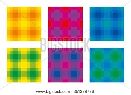 Six Colorful Check Pattern, Seamless Square Tiles. Also Called Checker Or Chequer. Step Patterns Are