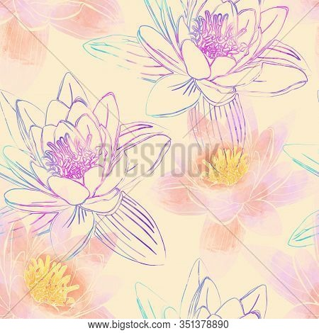 Seamless Pattern With Flowers Of Lotus.  Mix-media Design. Digital Painting And Watercolor Textures.