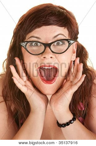 Excited Woman Shouting