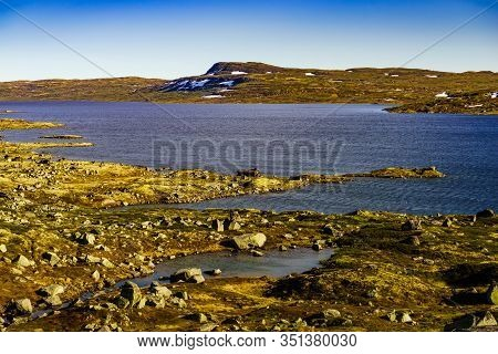 Hardangervidda Mountain Plateau Landscape. National Tourist Route. Norway In Summer.