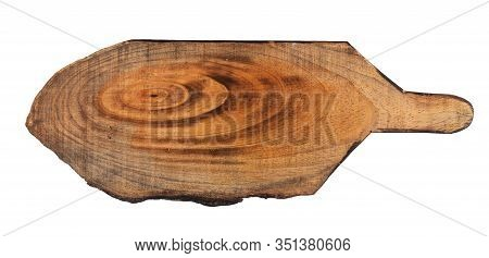 Cutting Board Top View From Above Isolated On White Background Clipping - Wooden Brown Cutting Board