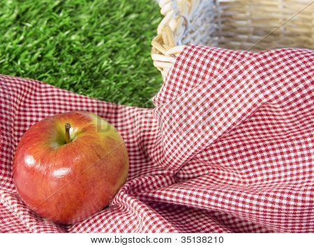 Red Apple In A Picnic Scene