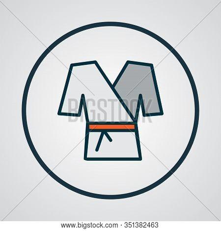 Kimono Icon Colored Line Symbol. Premium Quality Isolated Karate Element In Trendy Style.