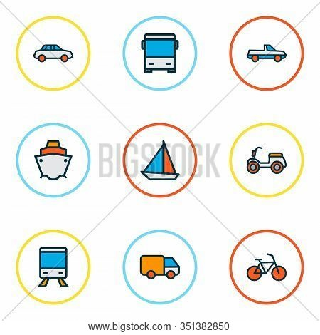 Transport Icons Colored Line Set With Car, Moped, Bus And Other Streetcar Elements. Isolated Vector