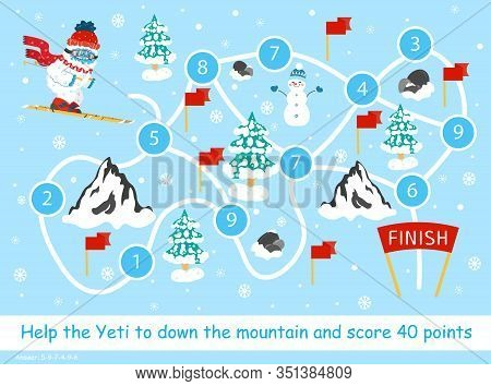 Help The Snow Yeti To Down The Mountain And Score 40 Points. Color Elementary Arithmetic Maze Game F