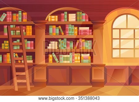 Interior Of A Library With Books On The Shelves In Arched Alcoves And A Sunny Window, Colorful Vecto