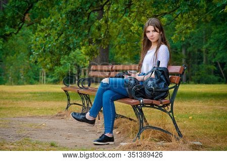 Young Student Girl On Campus. Education Concept.