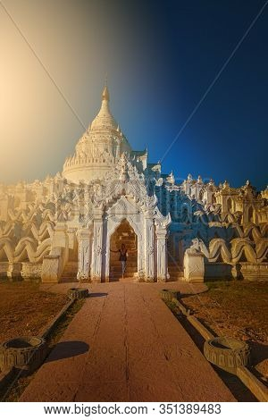 Myatheindan Pagoda White Temple Near Irrawaddy River
