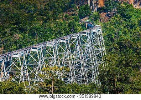 Goteik Viaduct Over Gohtwin Stream - Single Rail Track Bridge Near Nawghkio Western Shan State Myanm