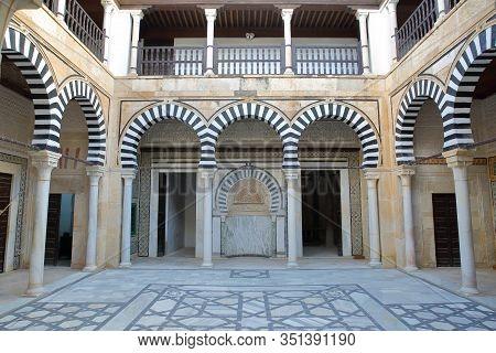 Kairouan, Tunisia - December 10, 2019: The Inner Courtyard Of The Sidi Abid El Ghariani Zaouia, With