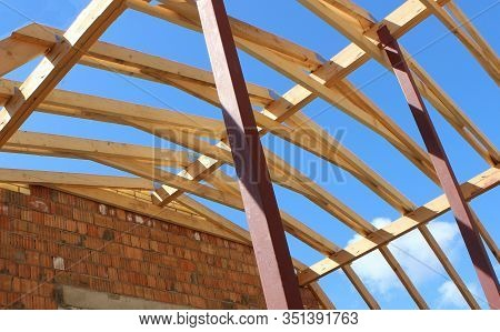 Roof Trusses Not Covered With Ceramic Tile On Detached House Under Construction, Visible Roof Elemen