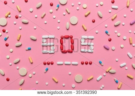 Sos Morse Code With Medical Drugs And Pills, Top View Flat Lay Conceptual Image For Addiction And Ov