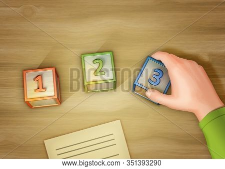 Hand moving some numbered wooden cubes. 3D illustration.