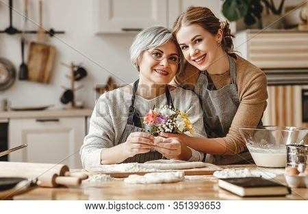 Happy Mother's Day! Family Old Grandmother  Mother-in-law And Daughter-in-law Daughter Congratulate