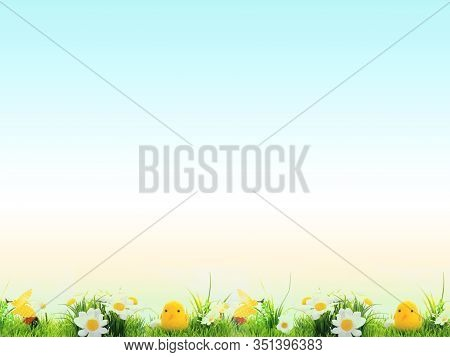 Easter Background, Cheerful Flowers, Easter Green And Blue With Yellow, Concept, Screen, Postcard, W