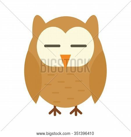Wisdom Owl Flat Icon. Vector Wisdom Owl In Flat Style Isolated On White Background. Element For Web,