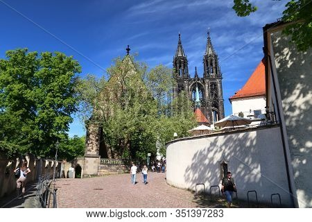 Meissen, Germany - May 5, 2019: People Visit Meissen Old Town In Germany. Meissen Is A Medieval Town