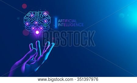 Circuit Board In Shape Electronic Brain With Gyrus, Symbol Ai Hanging Over Hand. Symbol Of Computer