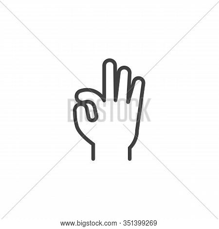 Hand Ok Sign, Line Icon. Linear Style Sign For Mobile Concept And Web Design. Okay Hand Gesture Outl