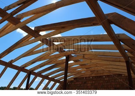 Roof Trusses Not Covered With Ceramic Tile On A Detached House Under Construction, Visible Roof Elem