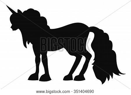 Black Silhouette Of A Mythical Animal, Unicorn. Vector Illustration