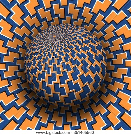 Optical Illusion Hypnotic Vector Illustration. Patterned Blue Orange Globe Soaring Above The Same Su