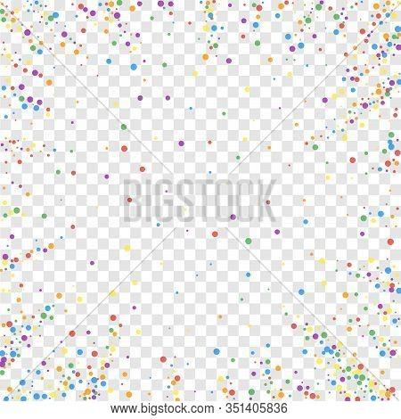 Festive Confetti. Celebration Stars. Rainbow Confetti On Transparent Background. Comely Festive Over