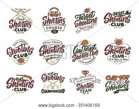 Set Of Vintage Clay Shooting Emblems And Stamps. Colorful Badges, Templates And Stickers For Shootin