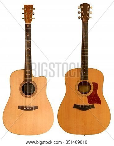 Yellow Acoustic Guitar Isolated On White Background