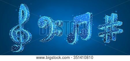 Set Of Musical Notes. Treble Clef, Bass Clef, Melody Key, Classic G-clef, Festival Poster Concept. L